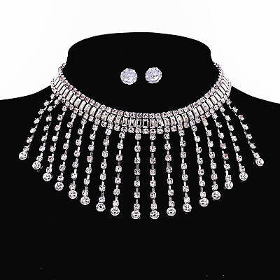 Wedding Prom Silver Jewelry Set Diamond Crystal Choker Necklace Pendant Earrings