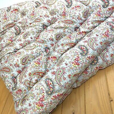 Small Vtg Antique Paisley Feather Quilt Eiderdown Nursery Floral  Shabby Chic