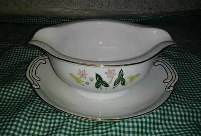 Sone China SON30 Occupied Japan Gravy Boat + Underplate Floral Gray Band Gold