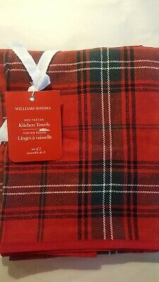 Williams Sonoma Red Tartan Kitchen Towels Set of 2 NEW Cotton Linen Blend