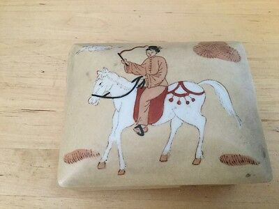 """Box Asian Chinese porcelain ceramic jewelry trinket horse and man theme 5"""" x 4"""""""