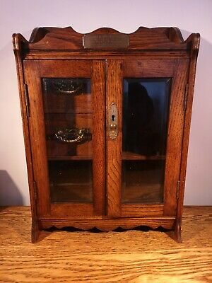 SUPER EARLY 20thC RICHLY PATINATED OAK TABLE/WALL CABINET + LOCKABLE GLASS DOORS