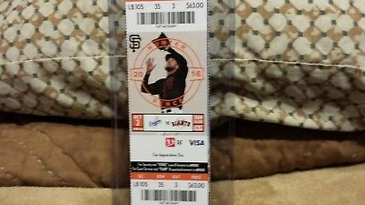 Vin Scully Sf Giants Vs La Dodgers Ticket Stub 10/2/16 Last Game Announcing