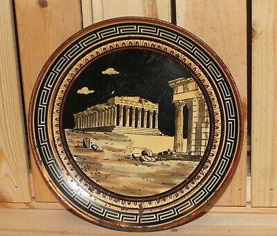 Vintage Greek Parthenon souvenir hand painted copper wall hanging plate
