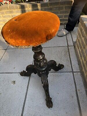 Antique Victorian Carved Mahogany Swivel Piano Stool. Restoration Project.
