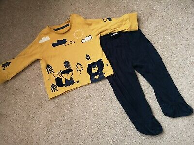 M&S/JoJo Maman Bebe 6-9-12 months boys outfit trousers top navy mustard yellow