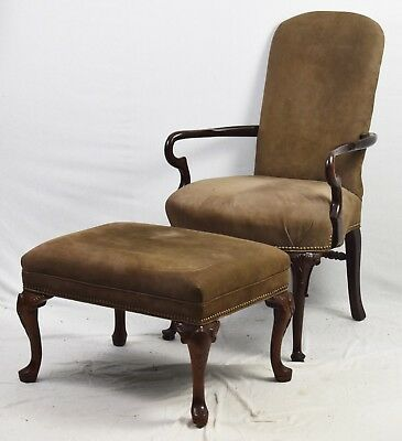 Old Hickory Tannery Mahogany Chair with Ottaman Tan Leather Fabric Nailhead Trim