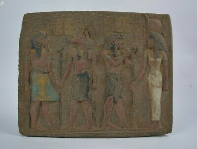 Rare Ancient Egyptian Wall Plaque Anubis , isis & Ancient Egyptian Kings