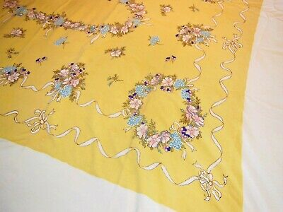Vintage LEACOCK  RIBBONS & WREATHS Yellow Tablecloth Set
