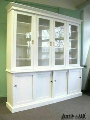 Bibliothek in Shabby-Chic weiss, Ladenschrank Regal Buffet Vitrine Antik-Lux