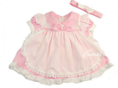 Baby Girls Spanish style Pink Gingham Apron Summer  Dress  0-3,3-6,6-9 months