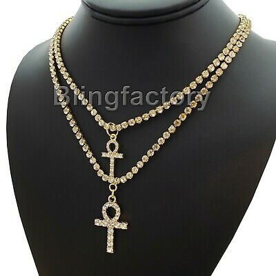 """Iced Double Ankh Cross Bling Pendant & 3mm 16"""" & 18"""" 1 Row Tennis Chain Necklace"""