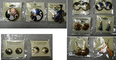 Wholesale Clearance-25 Handpainted Cloisonne Cat Pin Brooch & Earrings Lot-New