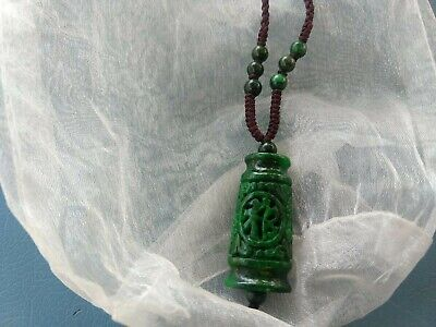Vintage Dark Green Old Asian Carving & Beads Jade Pendant On Brown Braided Cord