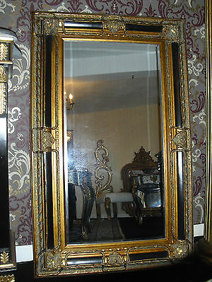 Large black and gold mirror frame antique design louis xv rococo style bevelled