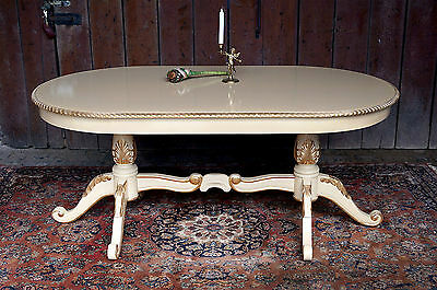 "splendid french antique style 70"" table beige + gold leaf decor from a castle"