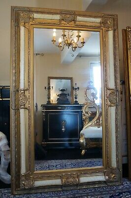 Large white and gold mirror frame antique design louis xv rococo style bevelled
