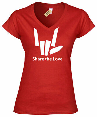 Womens Share The Love Funny T Shirt Tee Youtuber Stephen Sharer ladies V-Neck