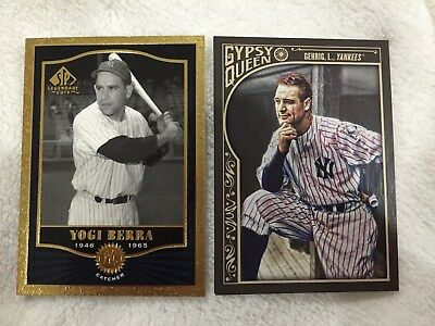 Lou Gehrig 2015 Gypsy Queen & Yogi Berra Sp Legends 2001 Yankees Baseball Cards