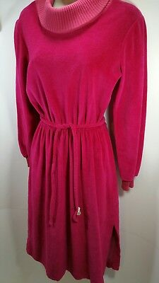 150045e1b0 VINTAGE 70s Terry Cloth Dress Long-Sleeved Dark Pink Waist Tie Mid-Calf Size