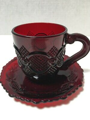 Avon 1876 Cape Cod Ruby Red Glass CUP AND SAUCER SET