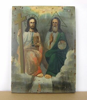 Antique Icon Trinity Orthodox Russian Empire Wood Past centyry 230x170mm