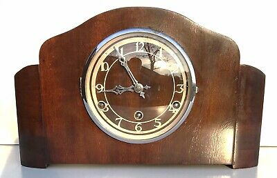 British Figured Walnut Quarter Chiming Mantle Clock