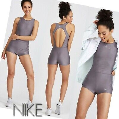 6ed045e692207 NWT $110 Nike Women's Running Bodysuit Run Division Gray silver shorts track