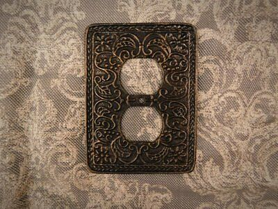 Metal Outlet Plate Cover, Tuscan, Medieval, Ornate Plug Decor, Outlet wall plate