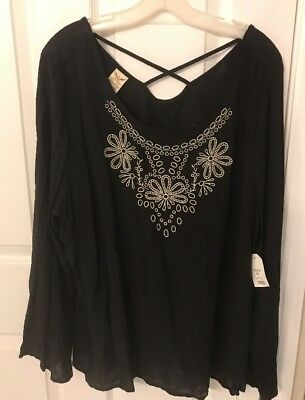 Faded Glory Women's XXL 20 Black With Beige Embroidered Long Sleeve Top NWT