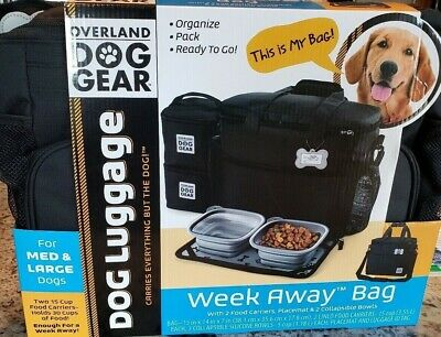 Overland Dog Gear Week Away Travel Bag for Small Medium Large Dogs Black
