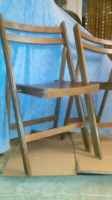 Set Of Six Mid Century Modern Danish Style Folding Slatted Chairs Marked Romania