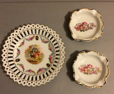 2 Bavarian Gerold Porzellain Bavarian Trinket Dishes + 3rd China Dish fm Germany