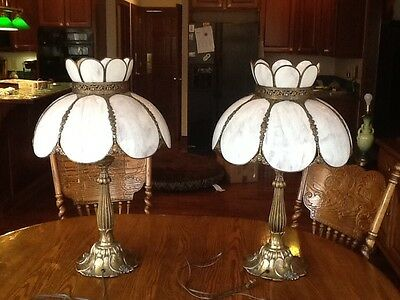 Gorgeous Pair of Large Tiffany Style Table Lamps