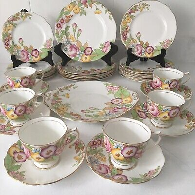 Royal Albert England Bouquet Dessert Set For 6 w/ Plates Tea Cups Cake Platter