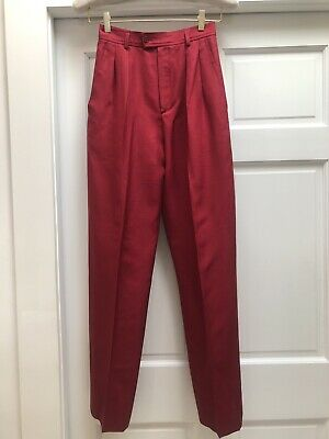 c24bf2f2 VINTAGE YSL YVES Saint Laurent Red Pink High Waisted Pants Size 36 2 Or 4