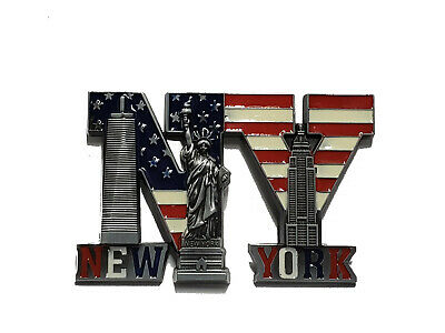1 New Nyc Magnet New York City Skyline Metal Magnet Statue Of Liberty 7035