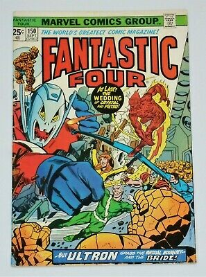 Fantastic Four #150 (FN+ to FN/VF)  Avengers/Ultron, Gerry Conway, Rich Buckler,