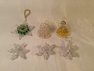 Lot 6 Vintage Beaded Christmas Ornaments Star Bell Angel 3 Snowflakes Hand Made