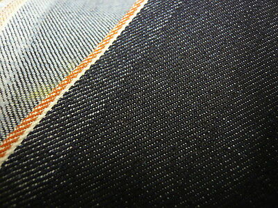 5mts SUPERIOR QUALITY STRETCH DENIM RED SELVEDGE INDIGO 90cms