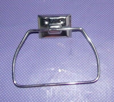Vtg NOS New EKCO Chrome Metal Wall Mount Towel Stirrup Ring Bar Hanger