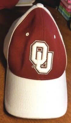 d735408e0157a OU Sooners University Of Oklahoma White Burgundy Fitted Hat Cap Zephyr Size  M L