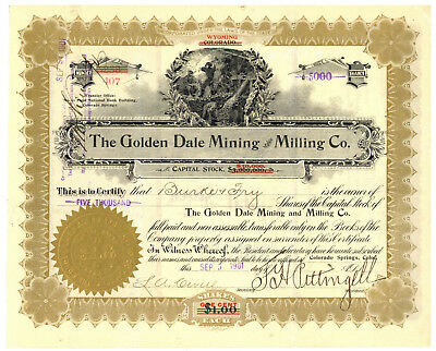 Golden Dale Mining and Milling Company. Stock Certificate. Colorado 1901