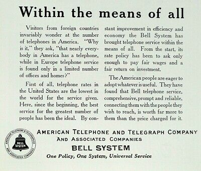 1925 American Telephone and Telegraph Company Print Ad - Bell System Aug 1925