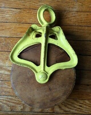 ANTIQUE Pulley, Barn Pulley Metal Wood Pulley Steam Punk Decor Vintage Farmhouse