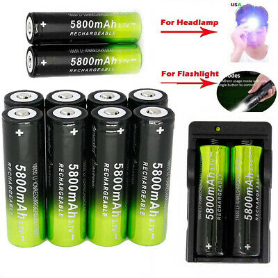 18650 5800mAh 3.7V Li-ion Rechargeable Battery Smart Charger For Torch Headlamp