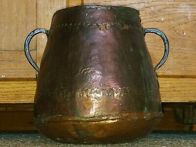 Vtg Antique Primitive Hand Forged Hammered Copper Kettle Pot Cauldron Dovetailed