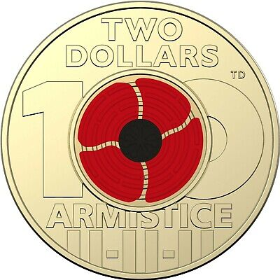 2018 Remembrance Day - Armistice Centenary $2 Coloured Coin - From Mint Bag
