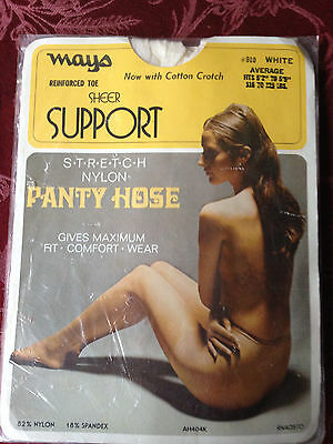 Very exiting! Vintage Mays nude white pantyhose w/ model one size