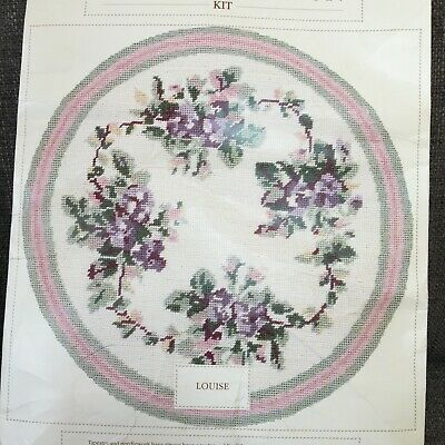 Laura Ashley Louise Round Floral Tapestry Cushion Kit Pansy Violet Purple Vtg